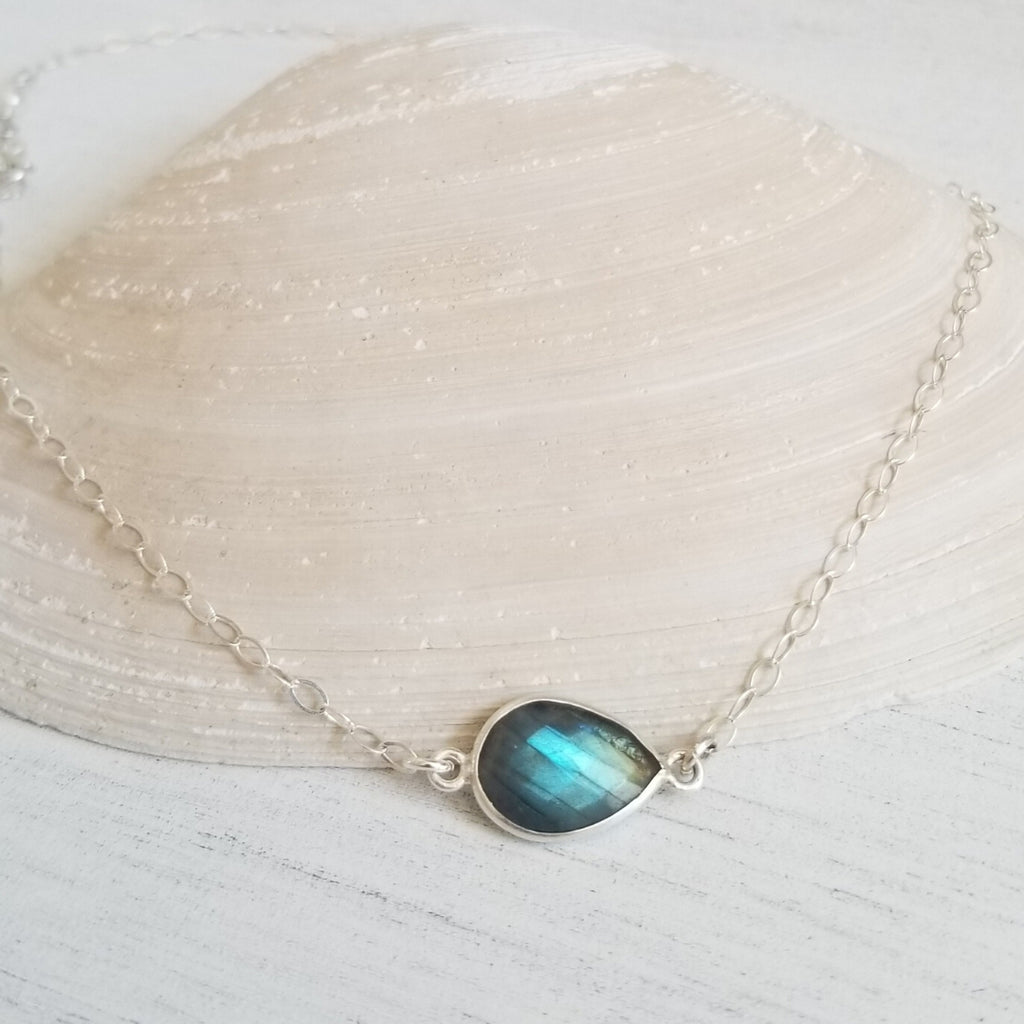 Sterling Silver Labradorite Choker Necklace