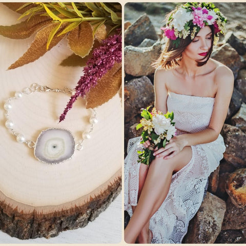 Bohemian Bride Bracelet, One of a Kind Solar Quartz and Pearl Bracelet