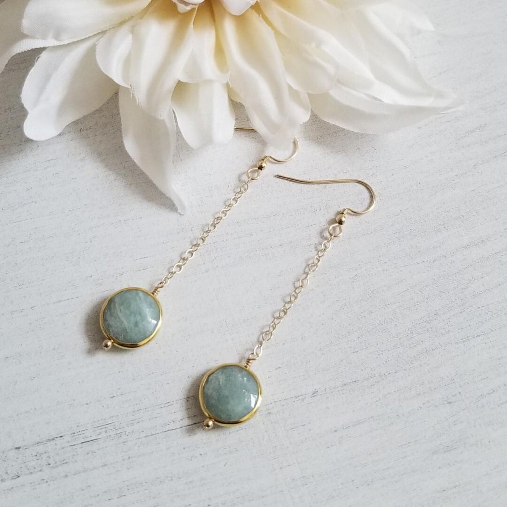 Aquamarine Earrings, Long Gold Earrings, Boho style jewelry
