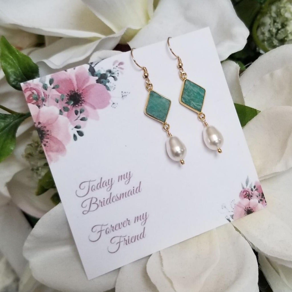 Gold Bridesmaid Pearl Earrings, Amazonite Earrings, Wedding Jewelry