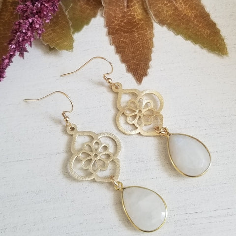 Brushed Gold Moonstone Flower Earrings