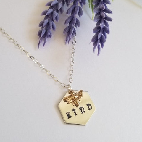 Tiny Bee Charm Necklace, Bee Kind Necklace, Honeycomb Necklace