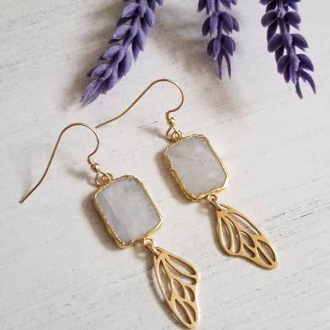 Gold Rainbow Moonstone Earrings with Gold Butterfly Wings