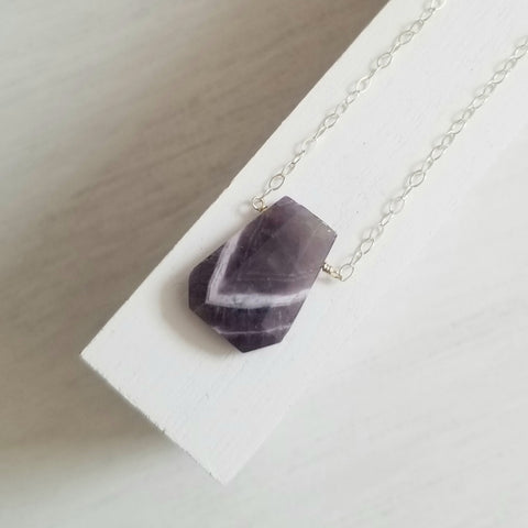 Chevron Amethyst necklace, One of a kind stone necklace