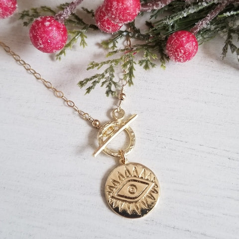 Front Toggle Gold Evil Eye Charm Necklace