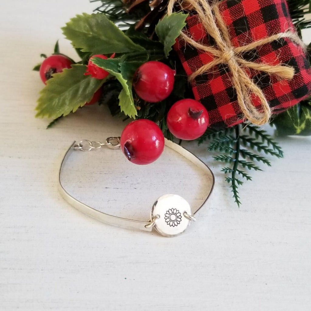 Silver Sunflower bracelet, bangle, handmade bracelet, holiday gift for her