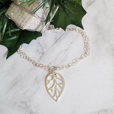 sterling silver bracelet, leaf charm bracelet, gift for spouse
