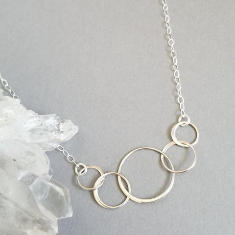Five Linked Circles Necklace, Family Generations Necklace
