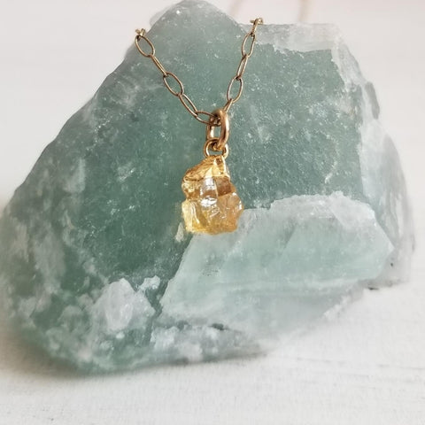 Rough Raw Citrine Stone Necklace, Tiny Gemstone, Gift for Her