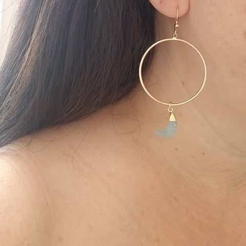 Gold Gemstone Hoop earrings, Boho Hoops