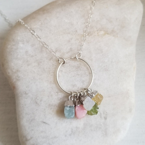 Custom Birthstone Necklace for Mom, Mother's Day Gift