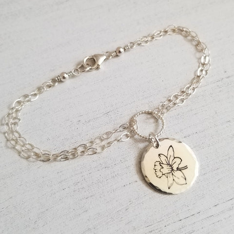 Custom Hand Engraved Flower Charm Bracelets