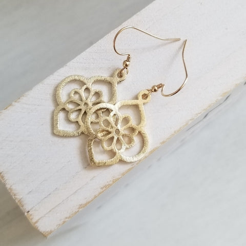 Brushed Gold Flower Design Earrings