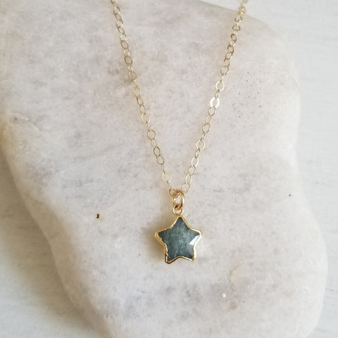Aquamarine Star Charm Necklace, Gift for Her