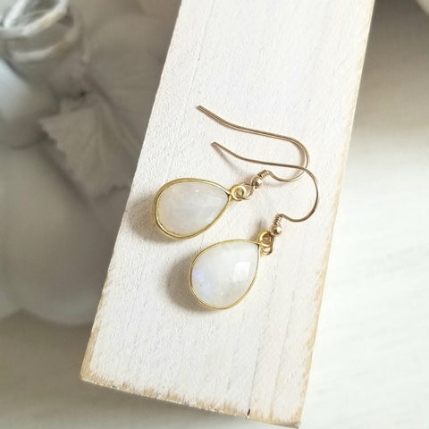 Wedding Jewelry, Moonstone earrings for Bridal Party