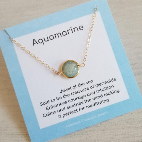 Gold Aquamarine Necklace, Dainty Layering Necklace
