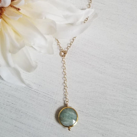 Aquamarine necklace, boho style necklace, center drop necklace