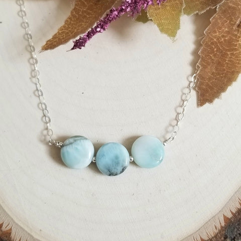 Natural Larimar Bar Necklace, Sterling Silver or Gold Filled