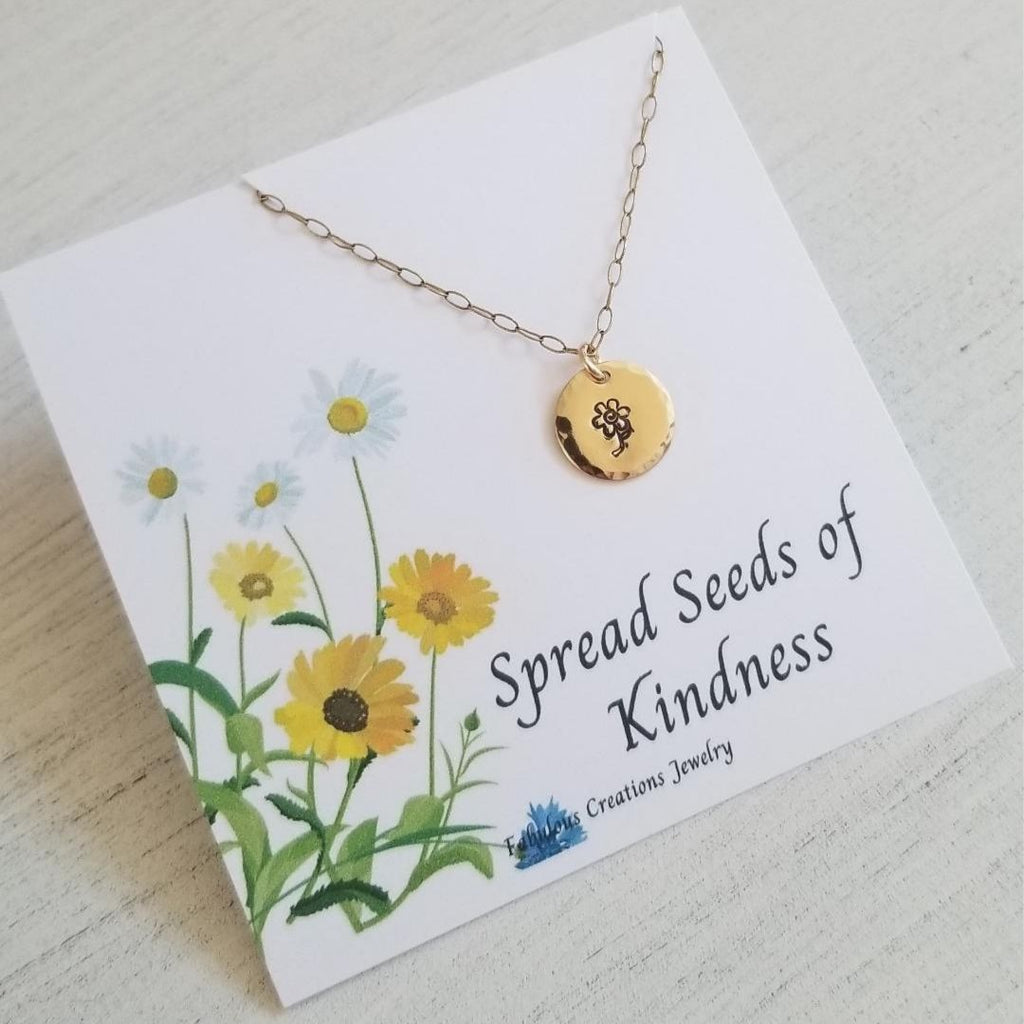 Daisy Charm Necklace, Spread Seeds of Kindness