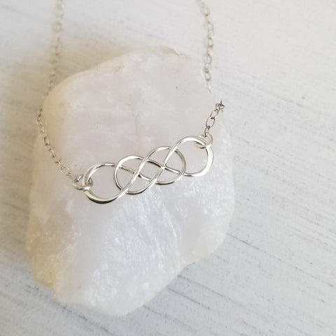 Double Infinity Necklace for Women, Gift for Sisters