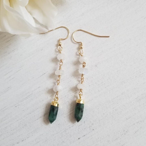 Bohemian Jewelry Brand, Raw Emerald earrings, Long Gold Earrings