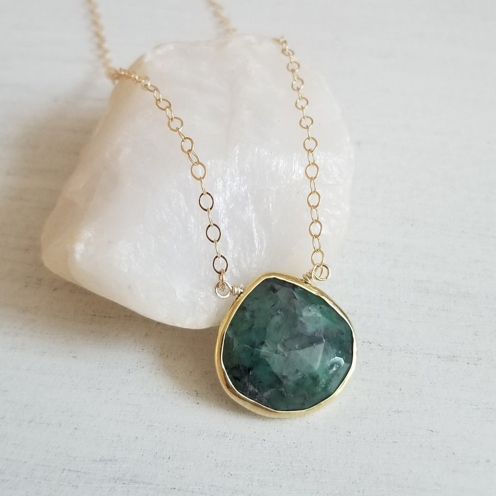 Emerald Drop Pendant Necklace, Gold Filled Chain Necklace