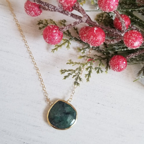 Emerald Necklace for Women, Christmas Gift for Her