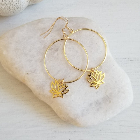Gold Lotus Flower Hoop Earrings for Women