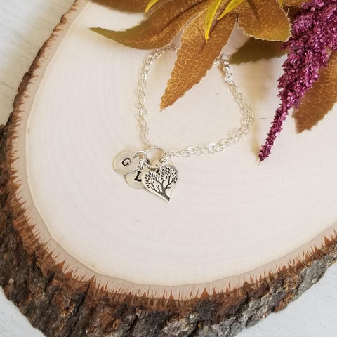 Personalized Mothers Bracelet, Sterling Silver Family Tree Bracelet