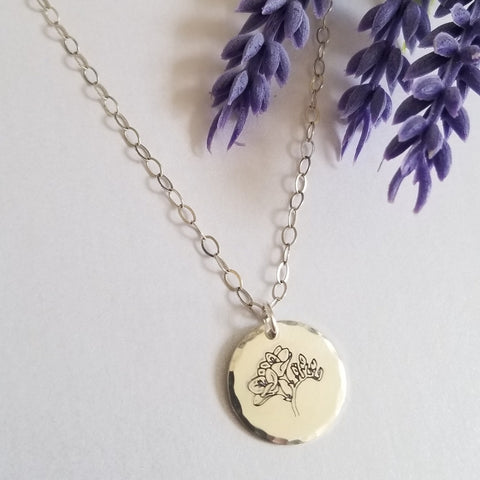Fressia Flower Charm Necklace in Sterling Silver or Gold Filled