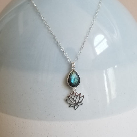 Labradorite and Lotus Flower Pendant Necklace