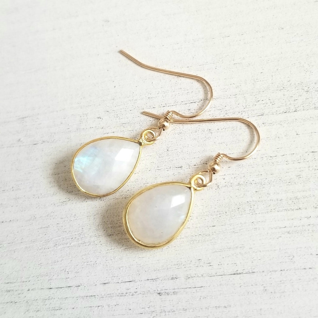 Gold Moonstone Earrings, Gift for Bridesmaids