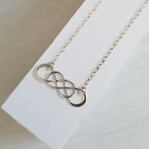 Silver Infinity Necklace, Gift for Best Friend