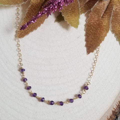 Simple everyday Amethyst necklace, February birthstone jewelry