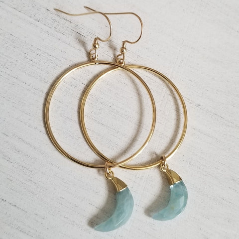 Gold Raw Aquamarine Hoops for women