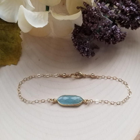 Gold Aquamarine Bracelet, Thin Gold Chain Bracelet