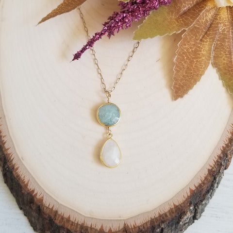 Aquamarine and Moonstone Pendant Necklace, Gold Filled Chain Necklace