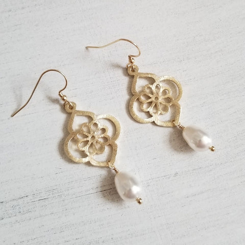 Gold flower earrings, Swarovski crystal pearl earrings