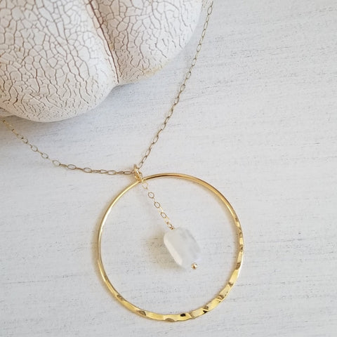 Long Moonstone Necklace, Gold Hoop Pendant Necklace, Christmas Gift for women