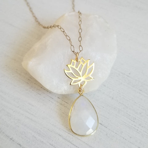 Gold Lotus Flower with Moonstone Teardrop Pendant Necklace