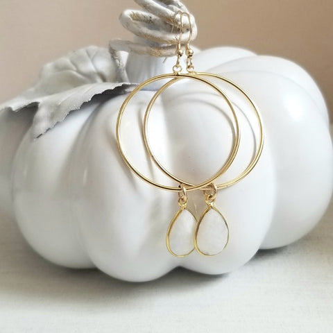 Moonstone hoop earrings, Boho Style Jewelry