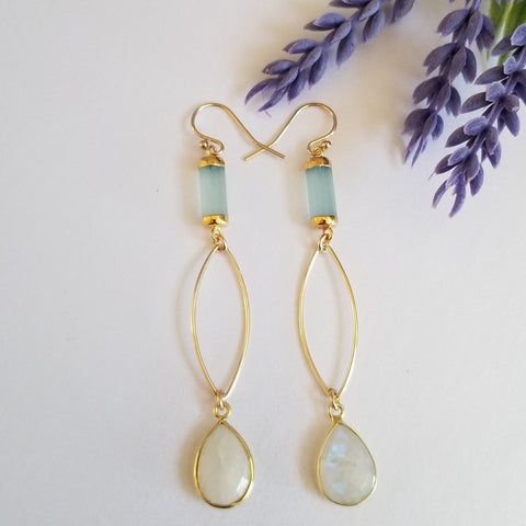 Modern Aqua Chalcedony and Moonstone Earrings, Gold Marquise Design Earrings