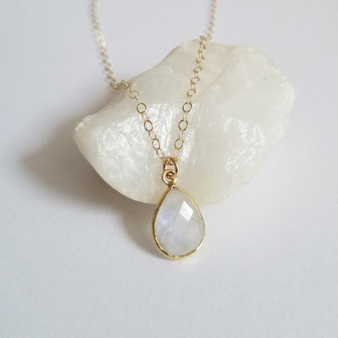 Moonstone Teardrop Necklace, Gift for Mom, Mother of the Bride Gift