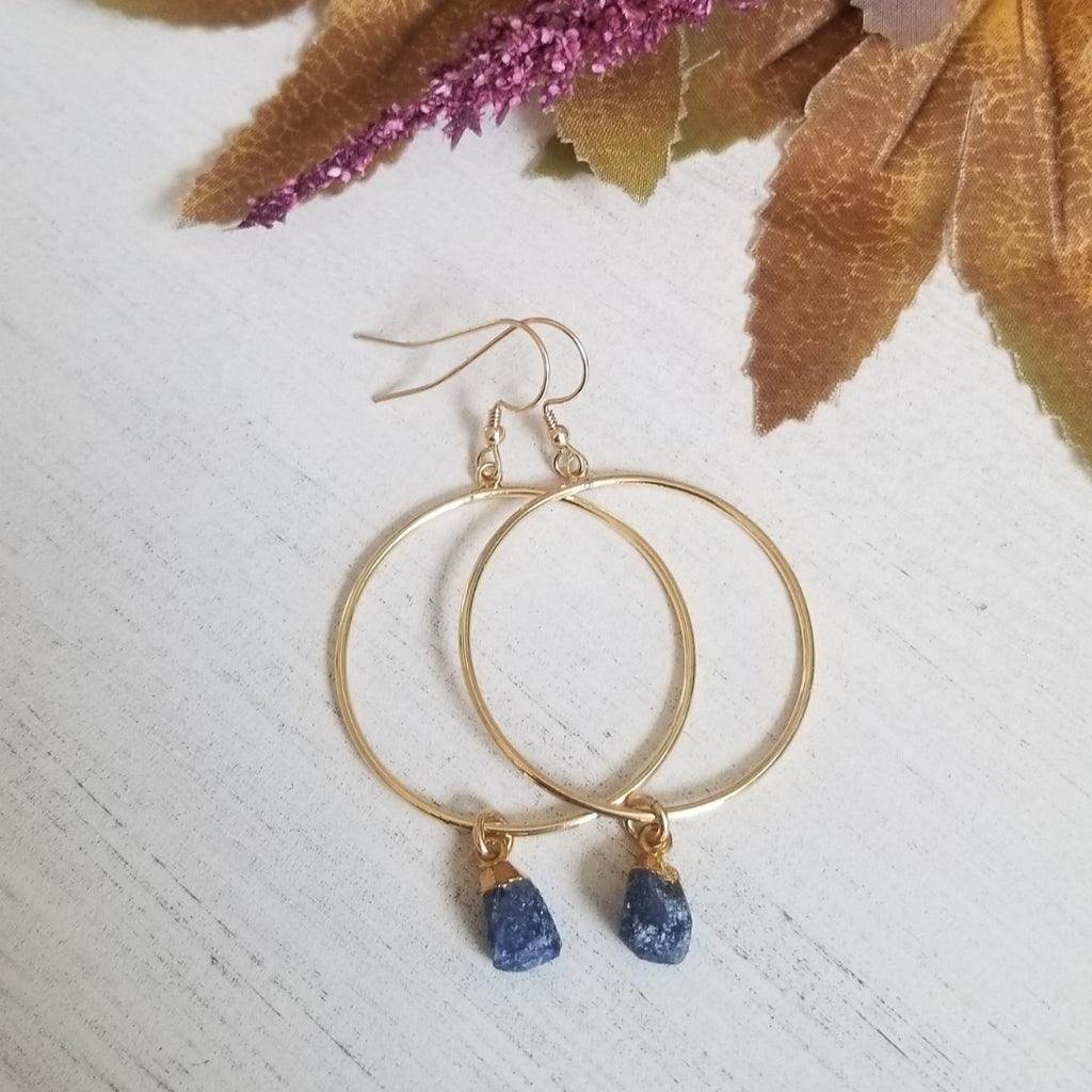 Boho Gold Hoop Earrings, Raw Sapphire earrings
