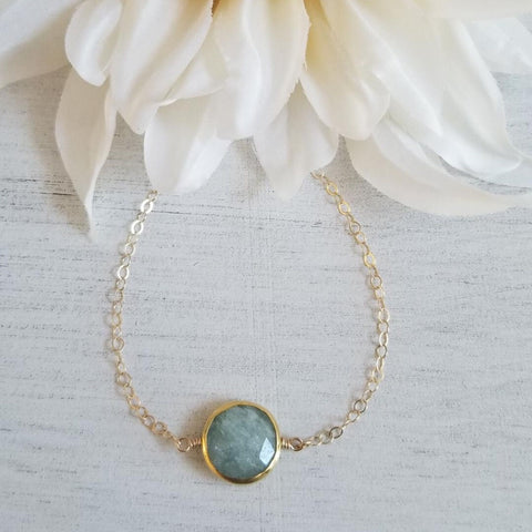 Dainty Gold Aquamarine Bracelet, March Birthstone