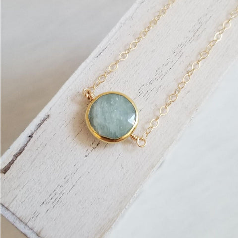 Delicate Aquamarine Necklace, Thin Gold Necklace, Boho Choker