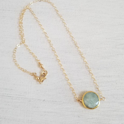 Gold Necklace, Aquamarine Necklace, Birthday Gift, Mother's Day Gift