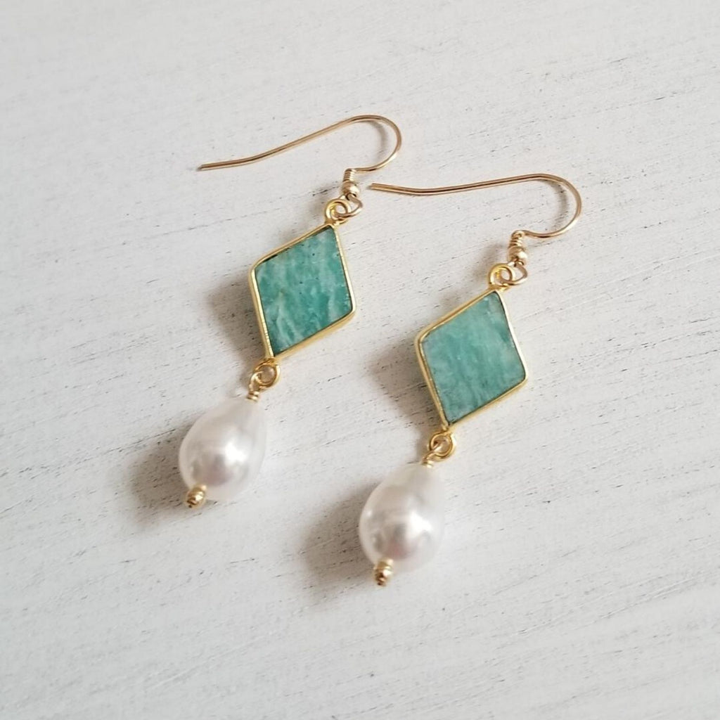 Gold Amazonite Earrings, Teardrop Pearl Earrings