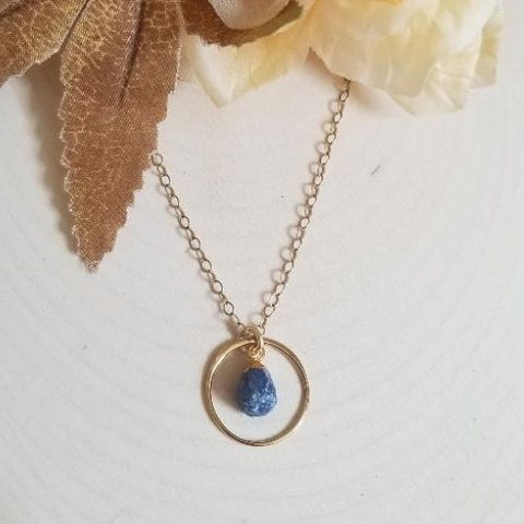 Raw Sapphire Eternity Necklace, September Birthstone Necklace