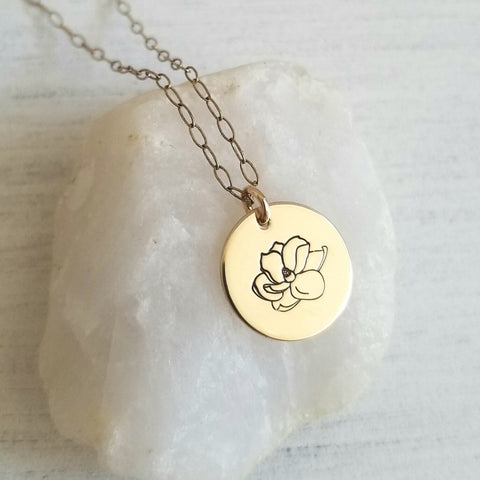 Dainty Magnolia Necklace, Sterling Silver or Gold